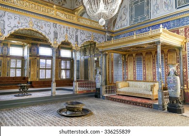 ISTANBUL,TURKEY, NOVEMBER 2,2015: Detail from throne room inside Harem section of Topkapi Palace, entertainment, weddings and exchange of Bayram felicitations took place in this hall.