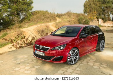 Istanbul/Turkey - November 25 2016 : Peugeot 308 GTI by Peugeot Sport featured engine producing 280 horsepower.