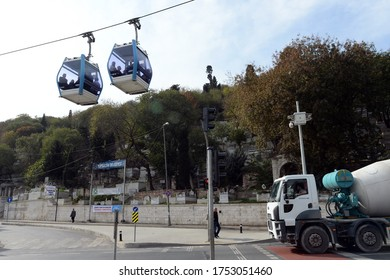 ISTANBUL,TURKEY - NOVEMBER 4, 2019:Cable car wagons depart from Eyup express city station in Istanbul