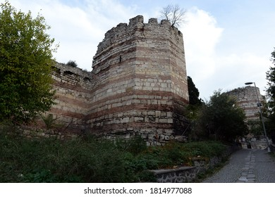 ISTANBUL,TURKEY - NOVEMBER 4, 2019:Fortress walls of ancient Constantinople in Istanbul. Turkey