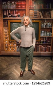 Istanbul,Turkey - November 7 ,2018 : The wax figure of Albert Einstein in the Instanbul waxworks of Madame Tussauds.