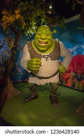 Istanbul,Turkey - November 7 ,2018 : The wax figure of Shrek in the Instanbul waxworks of Madame Tussauds.