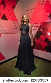 Istanbul,Turkey - November 7 ,2018 : The wax figure of Angelina Jolie in the Instanbul waxworks of Madame Tussauds.