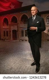Istanbul,Turkey - November 7 ,2018 : The wax figure of Mustafa Kemal Atatürk in the Instanbul waxworks of Madame Tussauds.