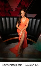 Istanbul,Turkey - November 7 ,2018 : The wax figure of Victoria Beckham in the Instanbul waxworks of Madame Tussauds.