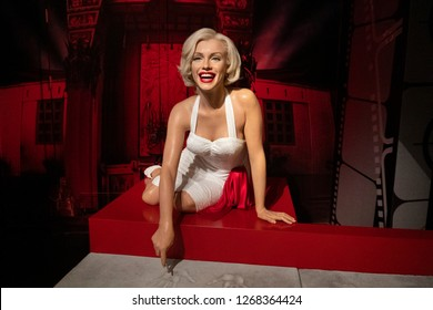 Istanbul,Turkey - November 7 ,2018 : The wax figure of Marilyn Monroe in the Instanbul waxworks of Madame Tussauds.