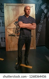 Istanbul,Turkey - November 7 ,2018 : The wax figure of Vin Diesel in the Instanbul waxworks of Madame Tussauds.