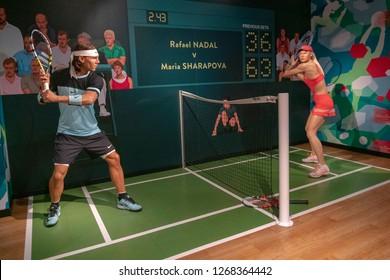 Istanbul,Turkey - November 7 ,2018 : The wax figure of Rafael Nadal and Maria Sharapova in the Instanbul waxworks of Madame Tussauds.