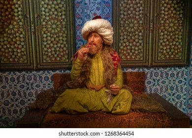 Istanbul,Turkey - November 7 ,2018 : The wax figure of The Ottoman Sultan Mehmed II in the Instanbul waxworks of Madame Tussauds.