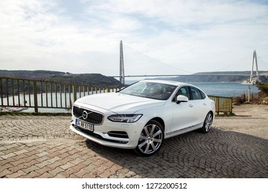 Istanbul/Turkey - November 8 2016 : Volvo S90 is a mid-size luxury sedan manufactured and marketed by Swedish automaker Volvo Cars since 2016.