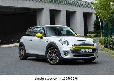 Istanbul/Turkey - October 17 2020 : The MINI Electric (referred to in some markets as the Mini Cooper SE) is an all-electric Mini from BMW launched in 2020.