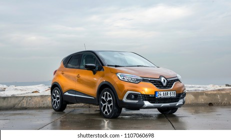 Istanbul/Turkey - October 25 2017 : Renault Captur is the name of two different subcompact crossovers manufactured by the French automaker Renault.