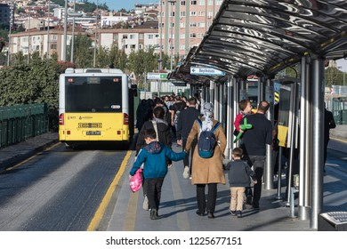 ISTANBUL/TURKEY - OCTOBER 29, 2018: Interior close up wide angle view from Metrobus line in Istanbul. Metrobus is a 50 km bus rapid transit route in Istanbul, Turkey with 45 stations.