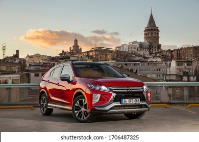 Istanbul/Turkey - October 30 2018 : Mitsubishi Eclipse Cross is a compact crossover SUV produced by Japanese automaker Mitsubishi Motors.