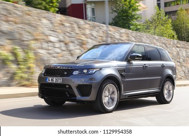 Istanbul/Turkey - September 10 2016 : Range Rover SVR (Special Vehicle Racing) features a 5.0-liter supercharged V8 engine which has been developed to produce 550hp and 502lb-ft of torque.