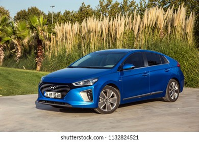 Istanbul/Turkey - September 15 2018 : Hyundai Ioniq is a compact five-door liftback manufactured and marketed by Hyundai in hybrid, plug-in hybrid and all-electric variants.