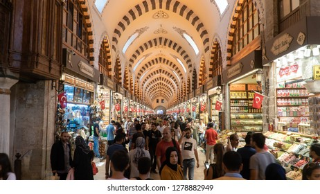 Istanbul,Turkey - September 2018: People walk and shop in grand bazaar, famous for jewelery and Turkish carpet shopping