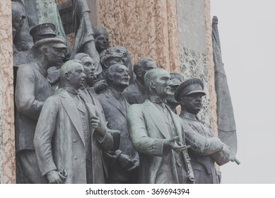 ISTANBUL,TURKEY -SEPTEMBER 31,2015:Independence Monument commemorating Kemal Ataturk and the founding of the Turkish Republic (1923) Taksim Square in Istanbul Turkey