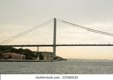 ISTANBUL,TURKEY- SEPTEMBER 4: Beylerbeyi palace and Bosphorus bridge on September 4, 2014 in Istanbul, Turkey.