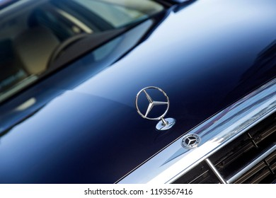Istanbul/Turkey- September 9 2018: Mercedes Benz logo, Mercedes sign close up on a car parked on the street.