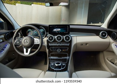 Istanbul/Turkey - September 9 2018 : Mercedes-Benz C-Class is a line of compact executive cars produced by Daimler AG.