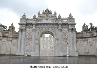 Istanbul/Turkey_11 Jan 2019: Imperial Gate of Dolmabahce Palace.