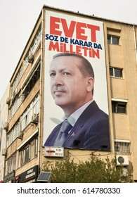 Istanbul,Turkey-April 04,2017:A banner of Turkish President Recep Tayyip Erdogan. Turkey will hold a referendum on April 16 to move to the presidential system.