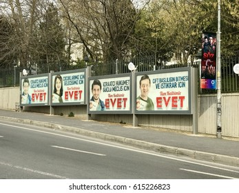 Istanbul,Turkey-April 04,2017:Akparti billboards in Besiktas District.Turkey will hold a referendum on April 16 to move to the presidential system.