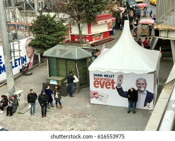 Istanbul,Turkey-April 06,2017:A banner of Turkish President Binali Yildirim Turkey will hold a referendum on April 16 to move to the presidential system.