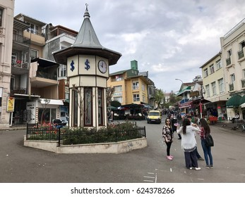Istanbul,Turkey-April 17,2017:Clock tower and main square in Buyukada. Büyükada is the largest of the nine Princes' Islands in the Sea of Marmara, near Istanbul.