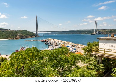 istanbul,turkey-august 10,2019. The Yavuz Sultan Selim Bridge is a bridge for rail and motor vehicle transit over the Bosphorus strait, to the north of two existing suspension bridges in Istanbul.