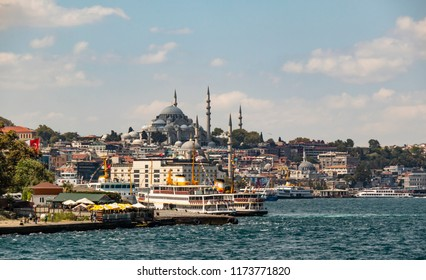 istanbul,turkey-august 22,2018.old town with mosque, cityscape and seascape with city lines ferries from istanbul