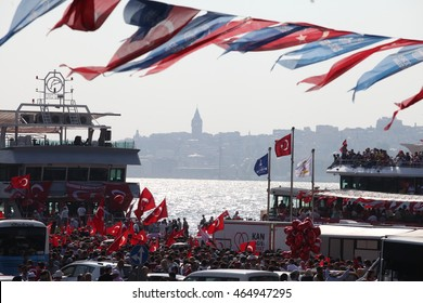 ISTANBUL,TURKEY-AUGUST 7 : Millions of people gathered Aug. 7 at a meeting venue in Istanbulâ??s Yenikap? area for a massive joint democracy rally to protest the July 15 coup attempt on August 7, 2016.