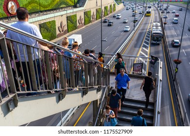 ISTANBUL,TURKEY,AUGUST 7,2018: Exterior wide angle view from Metrobus line in Istanbul. Metrobus is a 50 km bus rapid transit route in Istanbul, Turkey with 45 stations.