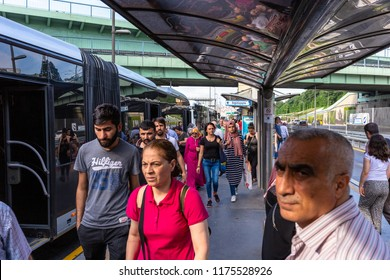 ISTANBUL,TURKEY,AUGUST 7,2018: Interior close up wide angle view from Metrobus line in Istanbul. Metrobus is a 50 km bus rapid transit route in Istanbul, Turkey with 45 stations.