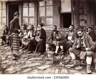 ISTANBUL-Turkey,Circa 1900's : Old photo.Street cafe in istanbul