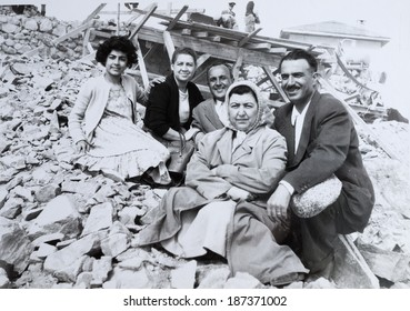ISTANBUL-Turkey,Circa 1960's :Trukish family looking at camera.