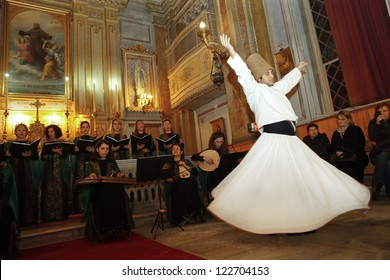 ISTANBUL,TURKEY-DECEMBER 17: Sufi Music Group 'Revnak' gave a concert with a show of whirling dervishes to commemorate Mevlana on December 17,2012  in San Pasifico Latin Catholic Church in Istanbul.
