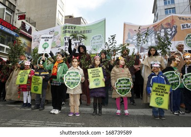 "ISTANBUL,TURKEY-DECEMBER 22:Thousands protest against corruption and government on 22 December, 2013 in Istanbul. ""Northern Forest Defence"" activists participate in the rally"