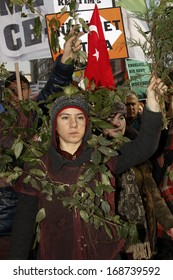 """ISTANBUL,TURKEY-DECEMBER 22:Thousands protest against corruption and government on 22 December, 2013 in Istanbul. """"Northern Forest Defence"""" activists participate in the rally"""