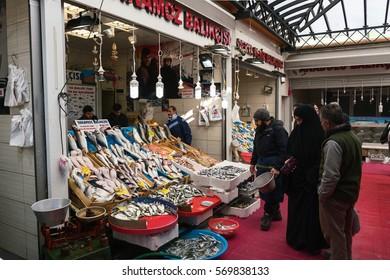 ISTANBUL,TURKEY-FEBRUARY 01,2017:Karakoy Fish market in Istanbul. Outdoor fish market on asian side,Near the Galata bridge.