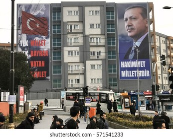 ISTANBUL,TURKEY-FEBRUARY 03,2017:Political banner on the Building of Turkish President Recep Tayyip Erdogan and reading on 'One nation, One flag, One homeland, One state', in Istanbul, Turkey