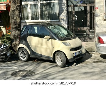 ISTANBUL,TURKEY-FEBRUARY 17,2017:Smart  car parked on the street .Smart is a popular mini car made by Daimler