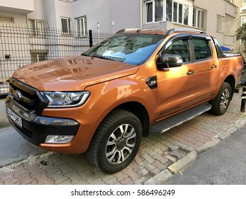 ISTANBUL,TURKEY-FEBRUARY 24,2017:Ford Ranger 4x4 parking in Istanbul