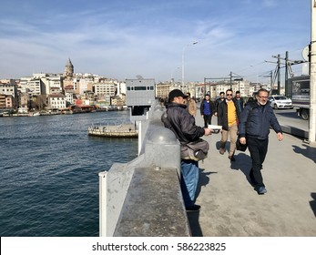 ISTANBUL,TURKEY-FEBRUARY 24,2017:Karakoy district in Istanbul