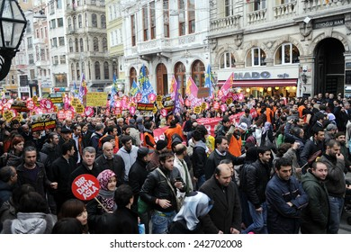 ISTANBUL,TURKEY:FEBRUARY  28: Unidentified anti-coup protesters marched to demand justice in the Sledgehammer (Balyoz) coup case on February  28,2010 in Istanbul,Turkey.