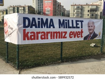 ISTANBUL,TURKEY-FEBRUARY 28,2017:The banner for the presidential referendum to be held in Turkey. Photograph of Turkish Prime Minister Binali Yildirim on in Istanbul, Turkey