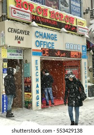 ISTANBUL,TURKEY-JANUARY 09,2017:Exchange office at the ?stiklal Street in istanbul.Heavy snow days in istanbul