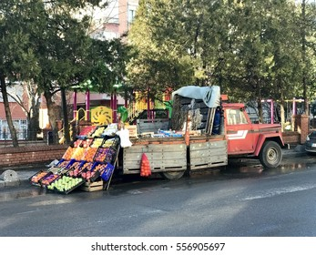 ISTANBUL,TURKEY-JANUARY 13,2017:Turkish street truck fruit seller in Bahcelievler District,istanbul.