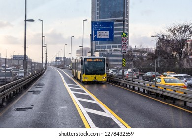 ISTANBUL,TURKEY,JANUARY 7,2019: Snowy winter day view from Metrobus line in Istanbul. Metrobus is a 50 km bus rapid transit route in Istanbul, Turkey with 45 stations.